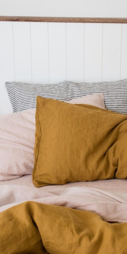 What's your favourite colour palette in your bedroom? Seen here are some of our favourite colours: Mustard Linen Pillows, Blush Sheets & Charcoal Stripe Pillows.
