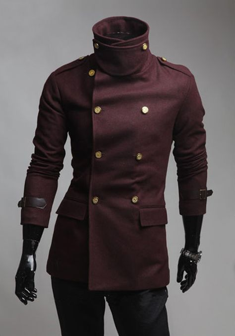 Slimming Solid Color Turndown Collar Double-Breasted Long Sleeves Woolen Coat For Men Mode Style Anglais, Suit Fashion, Fashion Outfits, Fashion Coat, Moda Pop, Herren Outfit, Sammy Dress, Character Outfits, Coat Dress