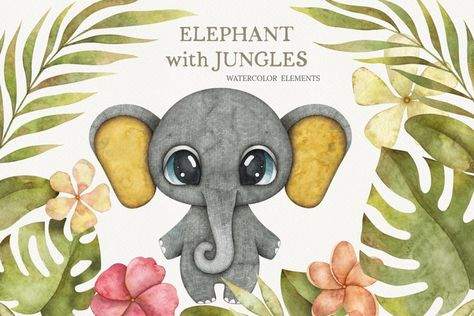 Watercolor baby elephant with jungles greenery (1346262) | Illustrations | Design Bundles
