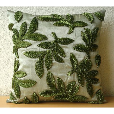 Leafy Days - Euro Sham Covers - 26x26 Inches Silk Euro Sham Cover with Satin Ribbon Embroidery