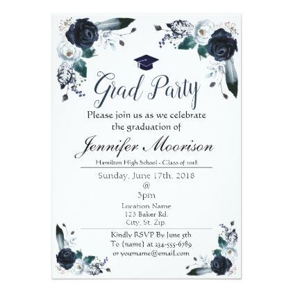 Watercolor Navy Blue Floral Graduation Invite Zazzle Com