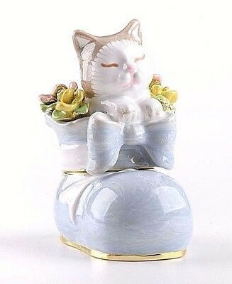 A Cat in a shoe Trinket box hand made by Keren Kopal with Austrian crystals