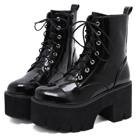 Faux-leather combat boots made in an ankle-high silhouette with lace-up design and heavy sole for an industrial edge. Side zip closure. Heel height: 3.35 in Platform height: 2.36 in Shaft: 5.75 in Imported Leather High Heel Boots, Wedge Ankle Boots, Platform Ankle Boots, Heeled Boots, Black Combat Boots, Platform Boots Outfit, High Platform Shoes, Boots With Heels, Combat Boots Dress