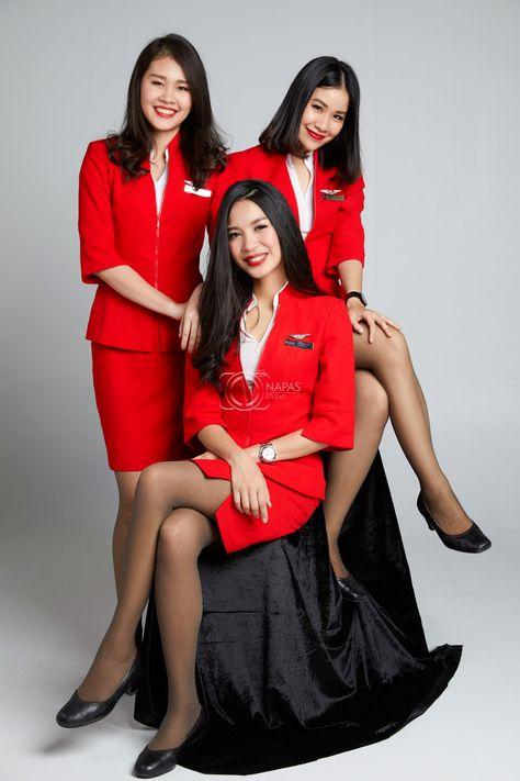 Friendship #thaiairasia #crew   crew portrait   cabin crew uniform   flight attendant   by napasstudio  