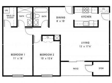 2 Bedroom Bath House Plans Under 1000 Sq Ft