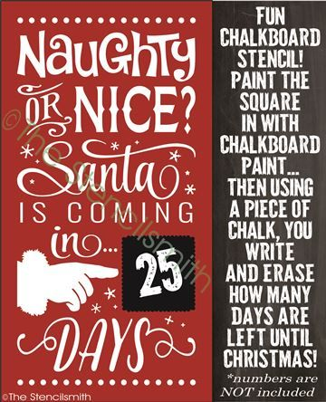 How Many Days Until Christmas 2020.Naughty Or Nice Stencil Chalkboard Countdown Chris 2020