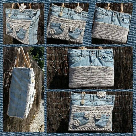 AH tas handbag. Denim with crochet. Great upcycle! Love the use of pockets, too.