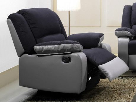 Relaxsessel Microfaser Bilston Schwarz Grau Fauteuil Relax Canape Relax Canape 3 Places
