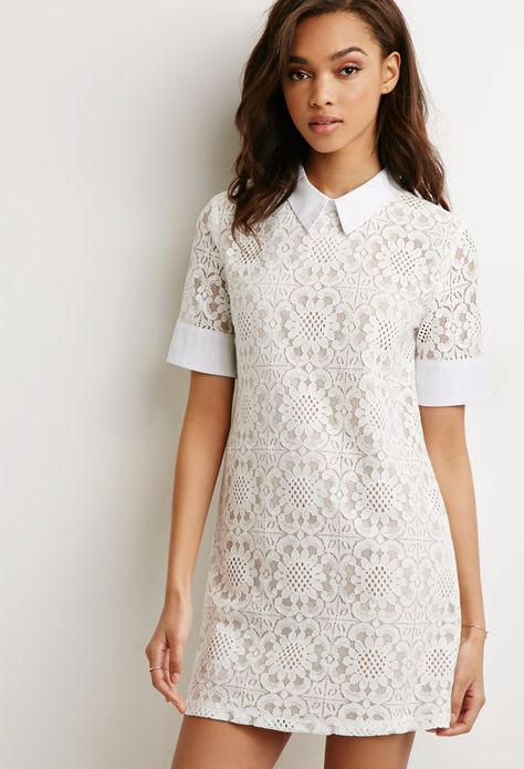 Collared Lace Shift Dress Forever 21