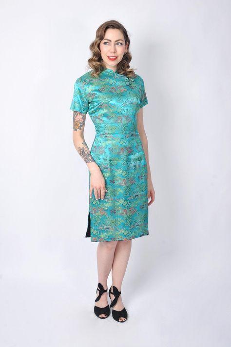 Vintage Late 1960 S Cheongsam Dress 70 S Algo Original Asian Teal