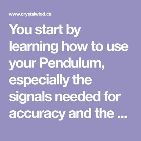 Dowsing With Your Pendulum | Crystals
