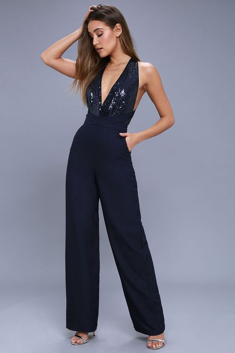 746bd2a2de99 Disco Heaven Navy Blue Sequin Jumpsuit 1