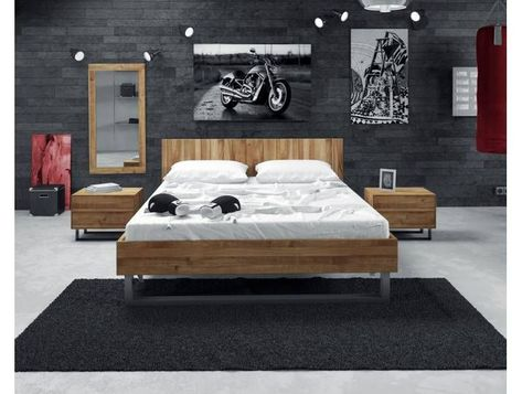 The Beds Steel Massivholz Bett 2202 200x200 Cm Kernbuche