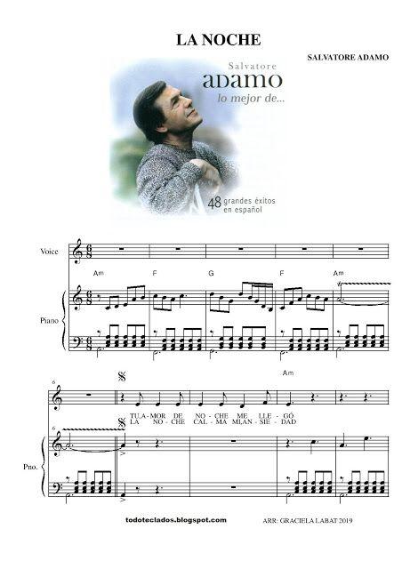 La Noche Salvatore Adamo Partituras Piano Sheet Letras Y Acordes