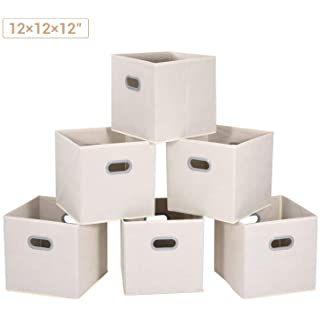 Amazon Com Sorbus Foldable Storage Cube Basket Bin 6 Pack Beige In 2020 Closet Storage Bins Storage Bins Collapsible Storage Bins