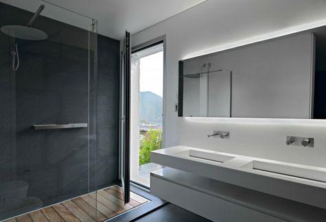 cabine de douche et mur en b ton cir bois la douche pas de glissade salle de bain design
