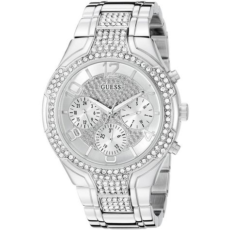 GUESS Women's Sporty Silver-Tone Watch with Silver Dial , Crystal-Accented Bezel and Stainless Steel Pilot Buckle