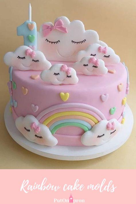 Rainbow cake ideas  Baby birthday cakes  #rainbowcakes #birthdaycake #putonapron