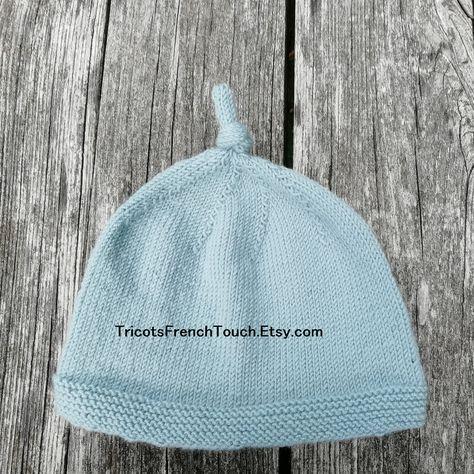 3a77bf0f630 Bonnet naissance pour bébé en laine 100 % mérinos.Bonnet noeud nouveaux-nés  chaud doux et naturel.Cadeau de naissance tricoté main en France