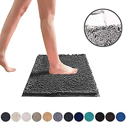 Amazon Com Deartown Non Slip Shaggy Bathroom Rug Dark Grey 20x32 Inches Soft Microfibers Chenille Bath M In 2020 Chenille Bath Mat Shaggy Bathroom Rugs Bathroom Rugs
