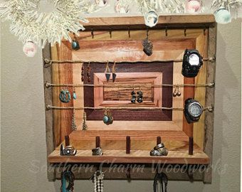 Rustic Wood Jewelry Holder and Storage Jewelry Organizer with