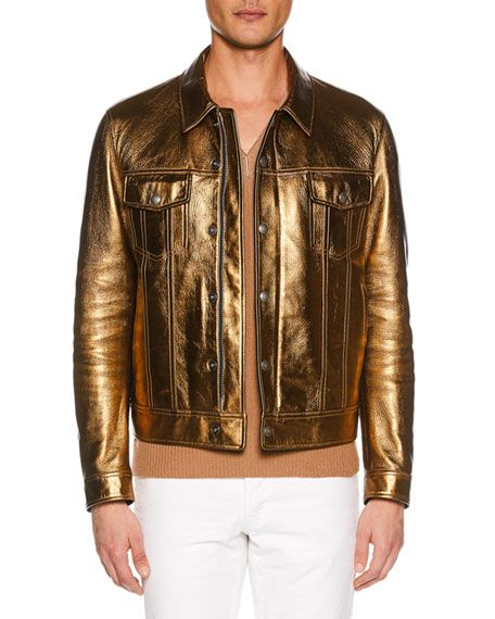 fa67ea3e1 Men's Metallic Leather Jean Jacket by TOM FORD at Neiman Marcus ...