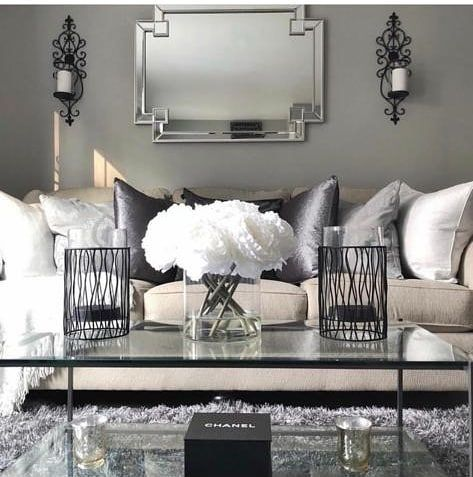 This Living Room Is Perfection Love The Contrast Of The Black And