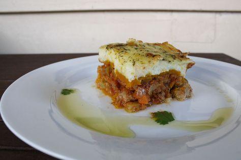 Paleo Lasagne Bake - ground beef, carrots, celery, onion, garlic cloves, can of tomatoes, herbs, cauliflower