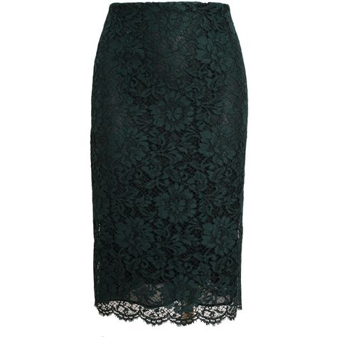 VALENTINO Floral Macramé Lace Pencil Skirt (€550) ❤ liked on Polyvore featuring skirts, bottoms, floral lace skirt, scalloped lace skirt, green skirt, scalloped skirt and floral knee length skirt