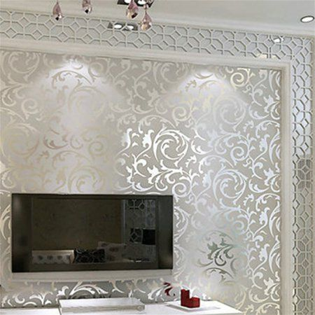 Luxury Non Woven Wallpaper Borders Prepasted For The Wall Damask Textured Embossed Wallpaper F Living Room Wallpaper Border Embossed Wallpaper Home Living Room