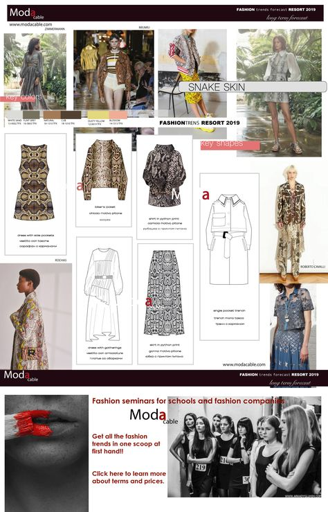 Resort 2019 fashion trends only at www.modacable.com....Learn more about Modacable Fashion seminars on our website!!