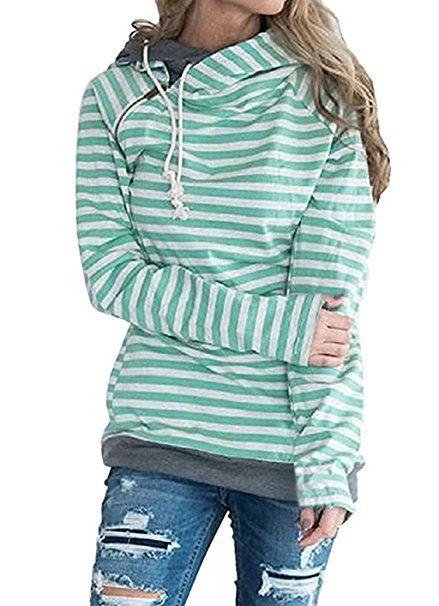 online retailer 8cea0 69490 ASSKDAN Damen Gestreift Pulli Sweatshirts Hoodie Sport ...