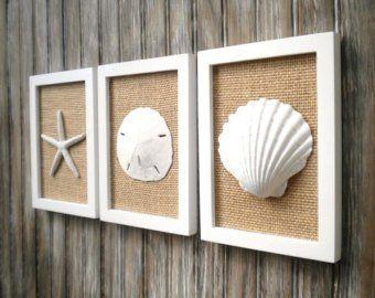 Cottage Chic Set Of Beach Wall Art Art Sea Shells Home Decor