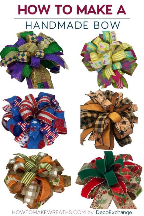This quick tutorial will show you how to make a handmade bow for wreaths. - - This quick tutorial will show you how to make a handmade bow for wreaths. Included is a step by step video on how to make a handmade wreath bow. Making Bows For Wreaths, How To Make Wreaths, How To Make Bows, Wreath Making, Making A Bow, Diy Bow, Diy Ribbon, Ribbon Bows, Wreath Crafts