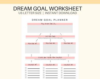 Dream Goal Planner Printable Goal Setting Printable Pdf