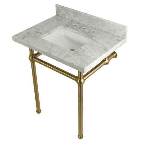 kingston brass square sink washstand 30 in console table in carrara rh pinterest ca