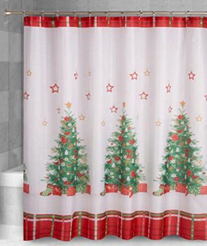 Decorated Christmas Trees with Tartan Plaid Fabric Shower Curtain