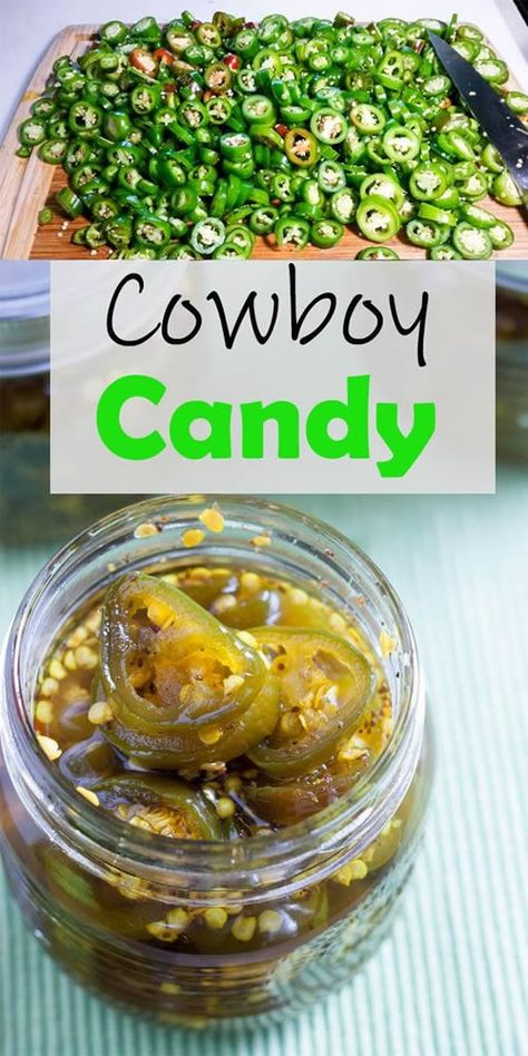 Candied Jalapenos - Cowboy Candy Recipe Cowboy Candy, is so easy to make! I give them to my heat loving friends and family for holiday gifts! Pepper Jelly Recipes, Jalapeno Recipes, Recipes With Jalapenos, Best Pickled Jalapenos Recipe, Bread And Butter Jalapenos Recipe, Spicy Pickled Eggs, Home Canning Recipes, Cooking Recipes, Canning Tips