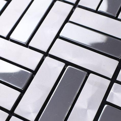 metallic mosaic tile aluminum panel wall stickers strip