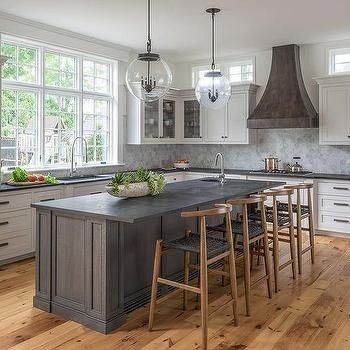 Dark Gray Oak Island With Honed Black Countertops Black Countertops Grey Kitchen Island Grey Countertops