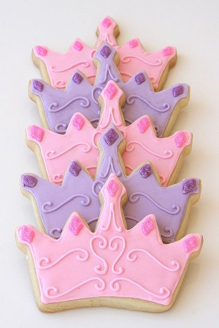 """Princess crown cookies to be wrapped as favors for a Cinderella princess birthday party. Vanilla sugar cookies decorated with royal icing and disco dust (on the """"jewels""""). I'll be making a Castle Cake for the party as well. Photo will come Sunday =) Sofia The First Birthday Party, Disney Princess Birthday Party, Disney Princess Party, Cinderella Princess, Cinderella Party, Disney Princess Cookies, Princess Sofia Cake, First Birthday Cookies, Princess Party Favors"""