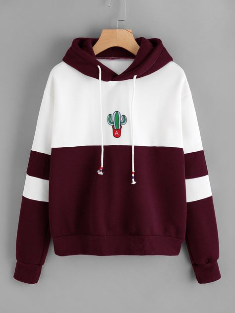 281154b98b9c Shein Color Block Cactus Embroidered Hoodie