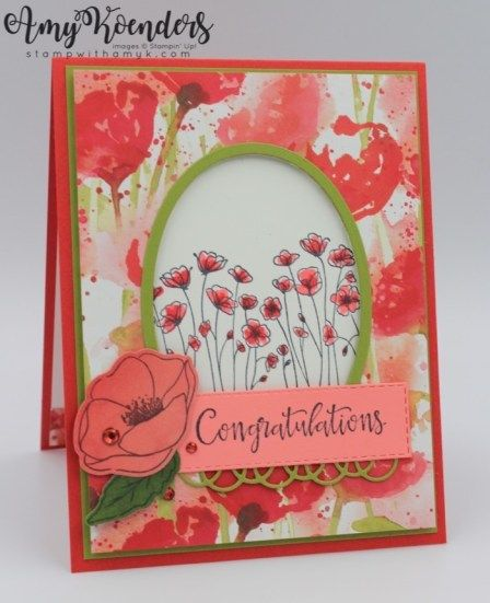 Handmade JUST A NOTE card kit of 4 made w// Stampin Up painted poppies