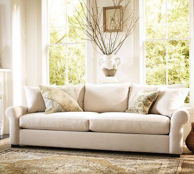 Rowan Sofa Potterybarn Flax Washed Grainsack Den Sofa Furniture Home Furniture Living Room Furniture