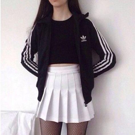 25b0c84cd2 Skirt: tumblr, tumblr outfit, grunge, adidas, skater skirt, black dress,  black, white dress, white - Wheretoget