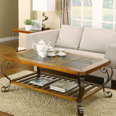 This Coffee Table Will Provide Style To Any Living Space Intricate Mosaic  Slate Top With Powder Coated Stylish Metal Base Dark Brown Powder Coated U2026