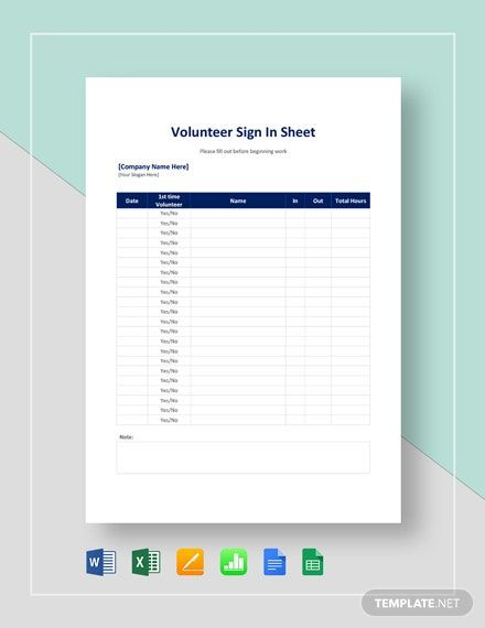 Volunteer Sign In Sheet Template Free Google Docs Google Sheets Excel Word Apple Numbers Apple Pages Template Net Sign In Sheet Sign In Sheet Template Templates