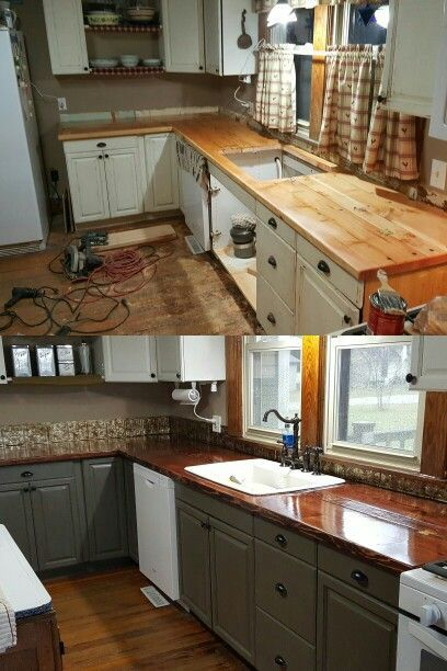 Plank Wood Kitchen Countertop Diy With