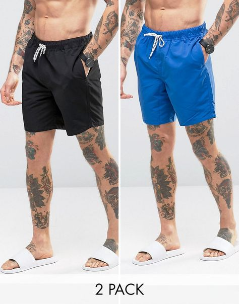 298b3cd353 Swim Shorts 2 Pack In Blue And Black In Mid Length SAVE | royal style