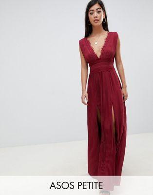 exclusive range good texture timeless design DESIGN Petite premium lace insert pleated maxi dress ...